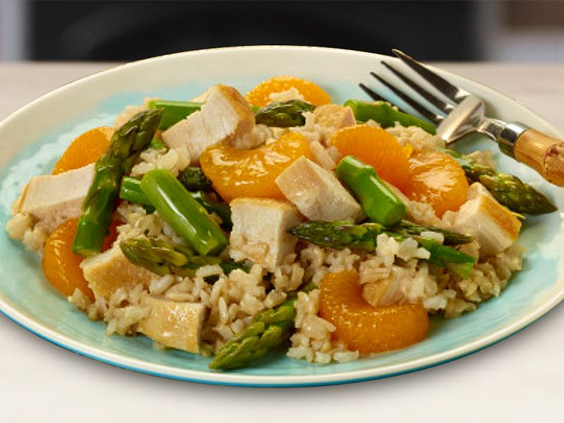 Asparagus, Mandarin Orange, Chicken and Rice
