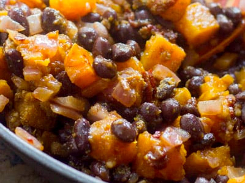 Butternut Squash with Black Beans