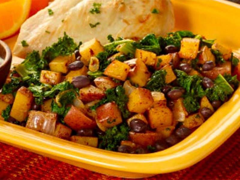 Potato, Black Bean, and Kale Skillet