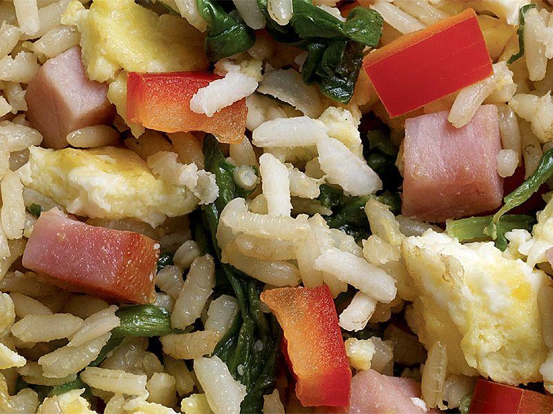 Stir-Fried Green Rice, Eggs, and Ham (Turkey Ham)